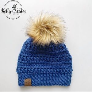 Handmade crochet winter hat fur Pom Pom blue color